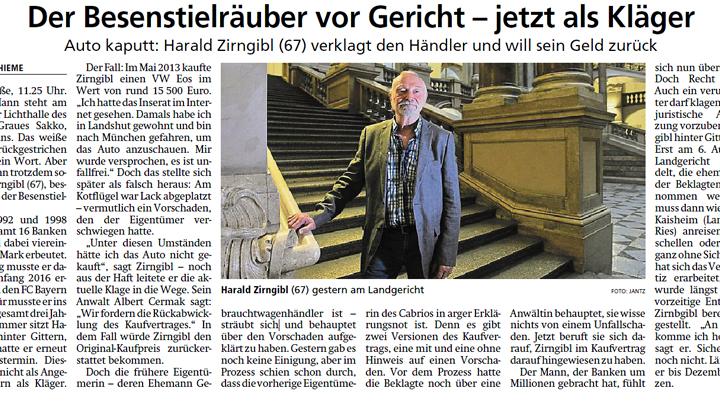 Münchner Merkur: Der Besenstielräuber vor Gericht – jetzt als Kläger